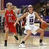 11-4-17<br /> Northwestern vs Twin Lakes girls basketball<br /> Madison Layden dribbles to the basket.<br /> Kelly Lafferty Gerber | Kokomo Tribune