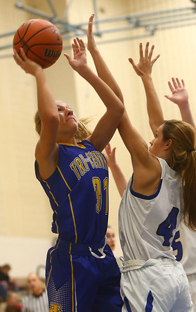 11-9-17<br /> Tipton vs Tri Central girls basketball<br /> TC's Emily Richard shoots.<br /> Kelly Lafferty Gerber | Kokomo Tribune