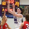 11-4-17<br /> Northwestern vs Twin Lakes girls basketball<br /> NW's Steph Burns makes a pass.<br /> Kelly Lafferty Gerber | Kokomo Tribune