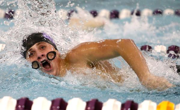 11-30-17<br /> Northwestern vs Logansport swimming<br /> Jaden Pratt's goggles slide down his face as he swims the boys 100 Yard Freestyle.<br /> Kelly Lafferty Gerber   Kokomo Tribune