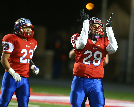 11-17-17<br /> Kokomo semi state<br /> Brody Smith celebrates after catching an interception.<br /> Kelly Lafferty Gerber | Kokomo Tribune