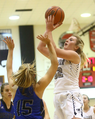 11-7-17<br /> Western vs Northfield girls basketball<br /> Clara Braswell puts up a shot.<br /> Kelly Lafferty Gerber | Kokomo Tribune