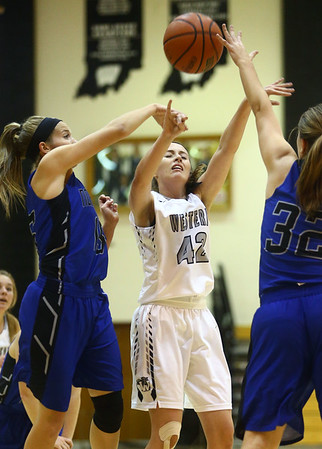11-7-17<br /> Western vs Northfield girls basketball<br /> Sophia Wright tries to shoot.<br /> Kelly Lafferty Gerber | Kokomo Tribune