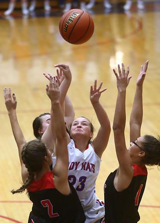 11-8-17<br /> Kokomo vs Taylor girls basketball<br /> Kokomo's Olivia Branch tries to put up a shot amid Taylor's defense.<br /> Kelly Lafferty Gerber | Kokomo Tribune