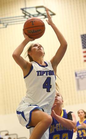 11-9-17<br /> Tipton vs Tri Central girls basketball<br /> Tipton's Cassidy Crawford shoots.<br /> Kelly Lafferty Gerber | Kokomo Tribune
