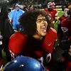 11-17-17<br /> Kokomo semi state football<br /> Kokomo's Anthony Fox celebrates with teammates after the Wildkat victory.<br /> Kelly Lafferty Gerber | Kokomo Tribune