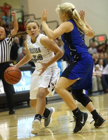11-7-17<br /> Western vs Northfield girls basketball<br /> Sammie Garber dribbles to the basket.<br /> Kelly Lafferty Gerber | Kokomo Tribune