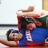 11-29-17<br /> Eastern vs Kokomo wrestling<br /> Eastern's Isaac Maurer takes down Kokomo's Zane Hall in the 152.<br /> Kelly Lafferty Gerber | Kokomo Tribune