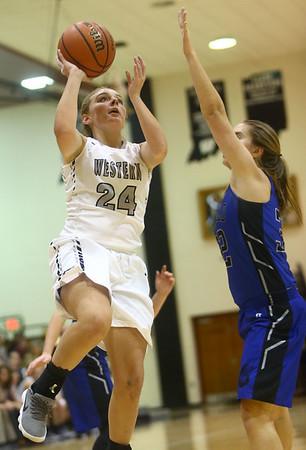 11-7-17<br /> Western vs Northfield girls basketball<br /> Sammie Garber puts up a shot.<br /> Kelly Lafferty Gerber | Kokomo Tribune