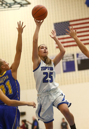 11-9-17<br /> Tipton vs Tri Central girls basketball<br /> Tipton's Rachael Ressler shoots.<br /> Kelly Lafferty Gerber | Kokomo Tribune