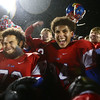 11-17-17<br /> Kokomo semi state football<br /> Kokomo's Aeden Ligon and Darius Thompson celebrate after Kats make history with their first ever semi-state win.<br /> Kelly Lafferty Gerber | Kokomo Tribune