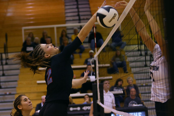 Volleyball sectional between Western HS and Maconaquah HS on October 12, 2017. Maconaquah's Alice Miller was a dominate force for her team but the were not able to pull off a win.<br /> Tim Bath | Kokomo Tribune