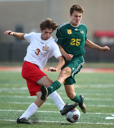 10-7-17<br /> Eastern vs Liberty Christian boys soccer sectional championship<br /> LC's Isaiah Brees and Eastern's Joseph Hawes<br /> Kelly Lafferty Gerber | Kokomo Tribune