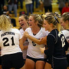 Volleyball sectional between Western HS and Maconaquah HS on October 12, 2017. Western celebrates after winning the first 3 of 5 against Maconaquah.<br /> Tim Bath | Kokomo Tribune