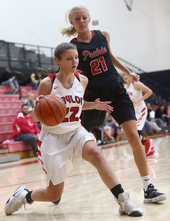 10-31-17<br /> Taylor vs Clinton Prairie girls basketball<br /> Taylor's Austyn Huffer dribbles to the basket.<br /> Kelly Lafferty Gerber | Kokomo Tribune