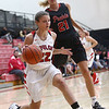 10-31-17<br /> Taylor vs Clinton Prairie girls basketball<br /> Taylor's Austyn Huffer dribbles to the basket.<br /> Kelly Lafferty Gerber | Kokomo Tribune