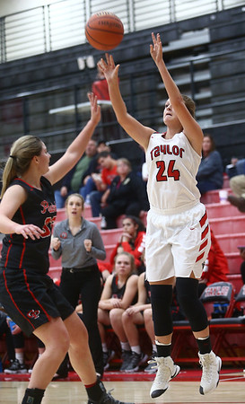 10-31-17<br /> Taylor vs Clinton Prairie girls basketball<br /> Brooke McGuire shoots.<br /> Kelly Lafferty Gerber | Kokomo Tribune