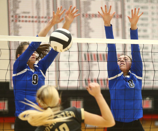 10-21-17<br /> Carroll vs Rochester volleyball<br /> Carroll's Kelsey Hammond and #8 go up to block a shot.<br /> Kelly Lafferty Gerber | Kokomo Tribune
