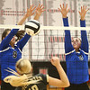 10-21-17<br /> Carroll vs Rochester volleyball<br /> Carroll's Kelsey Hammond and #8 go up to block a shot.<br /> Kelly Lafferty Gerber | Kokomo Tribune