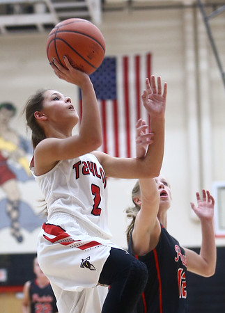 10-31-17<br /> Taylor vs Clinton Prairie girls basketball<br /> Alison Pemberton shoots.<br /> Kelly Lafferty Gerber | Kokomo Tribune