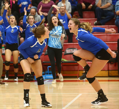 10-21-17<br /> Carroll vs Rochester volleyball<br /> Paige Jones and Megan Herr celebrate after a point.<br /> Kelly Lafferty Gerber | Kokomo Tribune