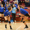 10-21-17<br /> Carroll vs Rochester volleyball<br /> Paige Jones and Megan Herr celebrate after a point.<br /> Kelly Lafferty Gerber | Kokomo Tribune
