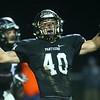 10-27-17<br /> Western vs Pendleton Heights football<br /> Andrew Ault celebrates after a defensive play.<br /> Kelly Lafferty Gerber | Kokomo Tribune