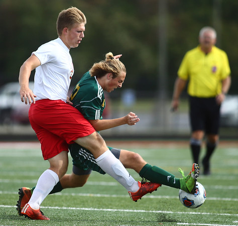 10-7-17<br /> Eastern vs Liberty Christian boys soccer sectional championship<br /> LC's Preston Grant and Eastern's Lance Vanmatre<br /> Kelly Lafferty Gerber | Kokomo Tribune