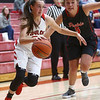 10-31-17<br /> Taylor vs Clinton Prairie girls basketball<br /> Taylor's Lynzey Butzin dribbles to the basket.<br /> Kelly Lafferty Gerber | Kokomo Tribune