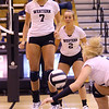 Volleyball sectional between Western HS and Maconaquah HS on October 12, 2017. Western's Hannah Merica gets excited as Hilary Merica scoops for a ball.<br /> Tim Bath | Kokomo Tribune