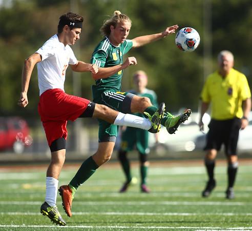 10-7-17<br /> Eastern vs Liberty Christian boys soccer sectional championship<br /> LC's Solomon Truitt and Eastern's Lance Vanmatre <br /> Kelly Lafferty Gerber | Kokomo Tribune
