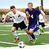 10-4-17<br /> Western vs Northwestern boys soccer<br /> Western's Collin Rassel and NW's Jackson Hale go after the ball.<br /> Kelly Lafferty Gerber | Kokomo Tribune