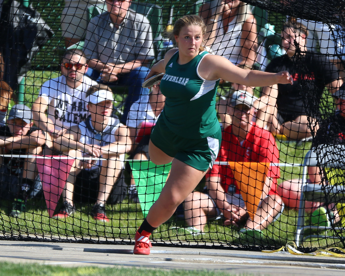 Cloverleaf's Katelyn Young competes in the discus finals at the Ohio state meet Friday. JOE COLON / GAZETTE