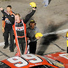 Don Knight | The Herald Bulletin<br /> Steve Wallace reacts after winning the Redbud 400 at Anderson Speedway on Saturday.