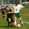 9-16-17<br /> Eastern vs Western boys soccer<br /> Western's Noah Stranahan and Eastern's Luke Stout go after the ball.<br /> Kelly Lafferty Gerber | Kokomo Tribune