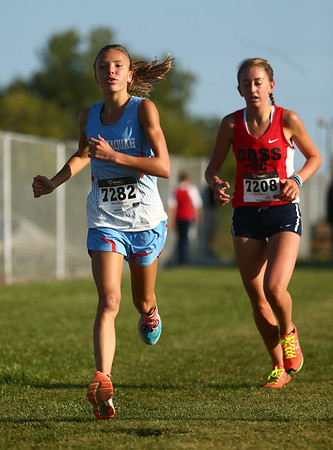 9-9-17<br /> Girls and boys cross country at Maconaquah<br /> Mac's Madison Winegardner.<br /> Kelly Lafferty Gerber | Kokomo Tribune