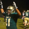 9-1-17<br /> Eastern vs Wes-Del football<br /> Tyler Hurston celebrates after a touchback in the 3rd quarter.<br /> Kelly Lafferty Gerber | Kokomo Tribune