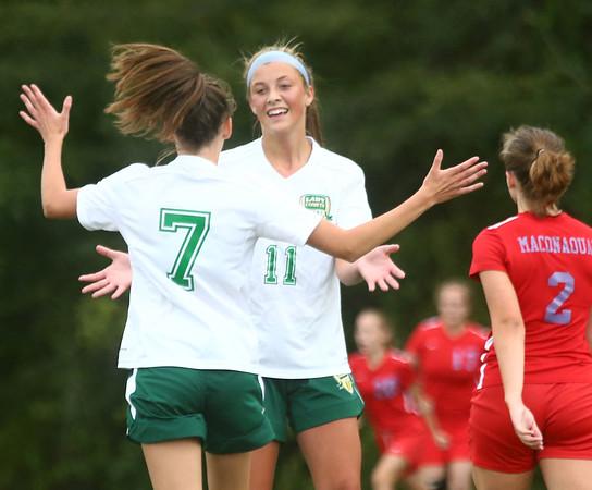 9-6-17<br /> Eastern vs Maconaquah girls soccer<br /> Mallorie Williams is congratulated by Ellie Moore after Williams scores.<br /> Kelly Lafferty Gerber | Kokomo Tribune