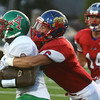 9-22-17<br /> Kokomo vs Anderson football<br /> Jack Perkins takes down Anderson's Jalen Hidleburg.<br /> Kelly Lafferty Gerber | Kokomo Tribune