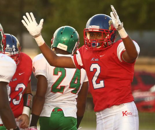 9-22-17<br /> Kokomo vs Anderson football<br /> Donte Smoot signals a touchdown after making a touchdown.<br /> Kelly Lafferty Gerber   Kokomo Tribune