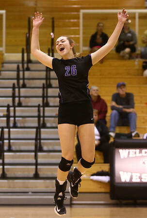 9-30-17<br /> Hoosier Conference tournament-Northwestern volleyball<br /> Jenna Goodspeed celebrates after a point.<br /> Kelly Lafferty Gerber | Kokomo Tribune