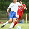 9-19-17<br /> Tri Central vs Taylor boys soccer<br /> TC's Riley Jones kicks.<br /> Kelly Lafferty Gerber | Kokomo Tribune