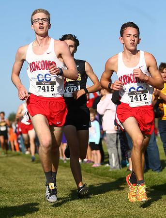 9-9-17<br /> Girls and boys cross country at Maconaquah<br /> Kokomo's Justin Taflinger, left, and Corey Dea.<br /> Kelly Lafferty Gerber   Kokomo Tribune
