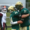 9-1-17<br /> Eastern vs Wes-Del football<br /> Eastern's Dakota Spencer, left, and Jacob Nelson celebrate after Spencer scores a touchdown.<br /> Kelly Lafferty Gerber | Kokomo Tribune