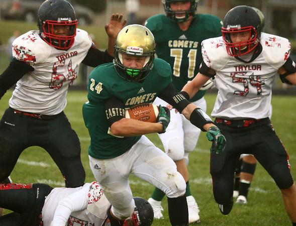 9-8-17<br /> Eastern vs Taylor football<br /> Eastern's Dakota Spencer runs the ball.<br /> Kelly Lafferty Gerber | Kokomo Tribune