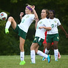 9-6-17<br /> Eastern vs Maconaquah girls soccer<br /> Alison Hahn kicks the ball.<br /> Kelly Lafferty Gerber | Kokomo Tribune