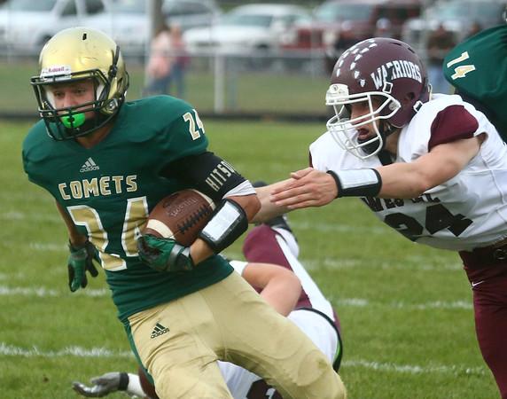 9-1-17<br /> Eastern vs Wes-Del football<br /> Dakota Spencer runs the ball.<br /> Kelly Lafferty Gerber | Kokomo Tribune