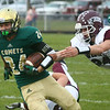 9-1-17<br /> Eastern vs Wes-Del football<br /> Dakota Spencer runs the ball.<br /> Kelly Lafferty Gerber | Kokomo Tribune