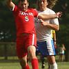 9-19-17<br /> Tri Central vs Taylor boys soccer<br /> Taylor's Josh Harrah and TC's Tom Fennell go after the ball.<br /> Kelly Lafferty Gerber | Kokomo Tribune