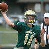 9-1-17<br /> Eastern vs Wes-Del football<br /> Nolan Grubb looks for a pass.<br /> Kelly Lafferty Gerber | Kokomo Tribune